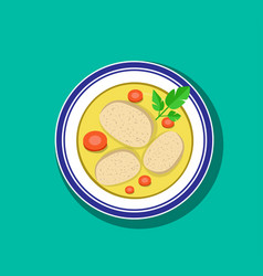 Top view sliced gefilte fish soup in bowl vector