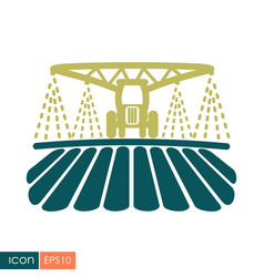 Tractor watering soil and fertilizing field icon vector