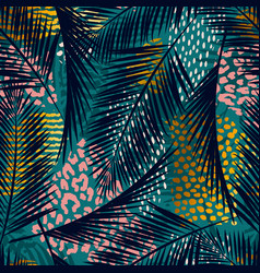 trendy seamless exotic pattern with palm animal vector image