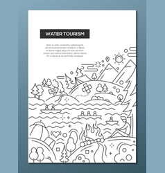 water tourism - line design brochure poster vector image