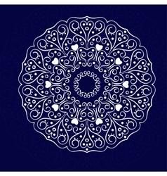White mandala on the blue vector image vector image