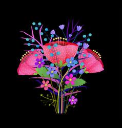 wild vintage flowers bouquet flat vector image