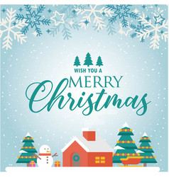 wish you a merry christmas home snowflake blue bac vector image