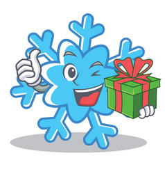 With gift snowflake character cartoon style vector