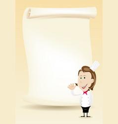 Woman chef restaurant poster menu background vector