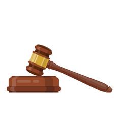 Wooden judge ceremonial hammer vector