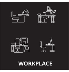 workplace editable line icons set on black vector image