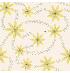 Yellow flowers with stamens pattern vintage vector image