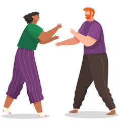 young couple quarreling man and woman shout at vector image