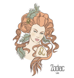 Zodiac of leo as girl with flowers vector