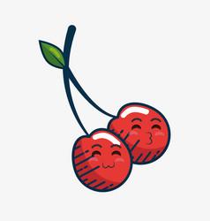 cherry fresh fruit character handmade drawn vector image