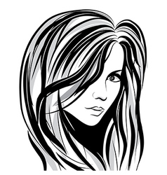 girl sketch face vector image