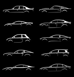 set of concept car silhouette vector image vector image