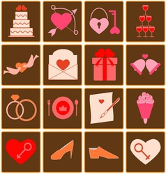 Wedding color icons on square button vector image