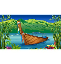 A boat near the bamboo plant vector image