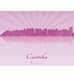 Curitiba skyline in purple radiant orchid vector image vector image