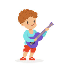 cute little boy playing guitar young musician vector image