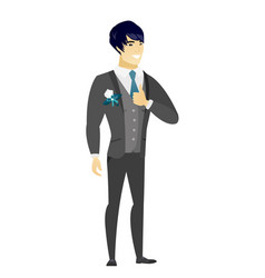 groom giving thumb up vector image vector image