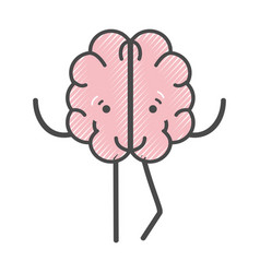 icon adorable kawaii brain expression vector image vector image