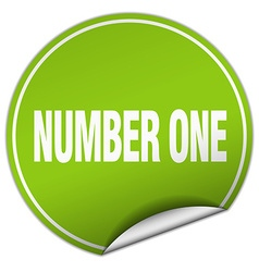 number one round green sticker isolated on white vector image vector image