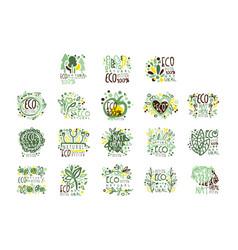 organic bio farm fresh eco healthy food set vector image vector image