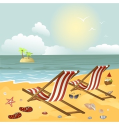 Two chaise longue on the beach vector image vector image
