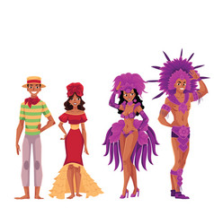 brazilian people in traditional costumes for samba vector image