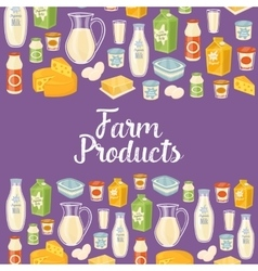 Farm products banner with dairy icons vector image