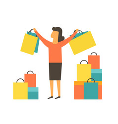 happy women making shopping vector image vector image