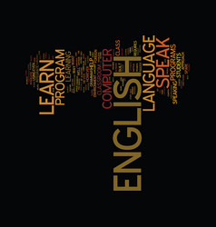 learn to speak english text background word cloud vector image vector image
