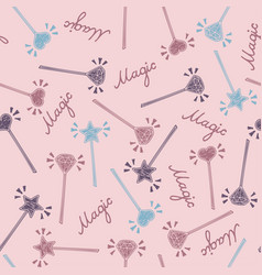 magic wand seamless pattern in hand drawing style vector image vector image