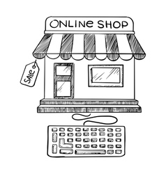 Online shopping and store icon sketch vector image vector image
