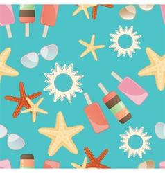 Summer sun starfish and icrecream vector image