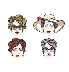 Woman Face Fashion Set vector image