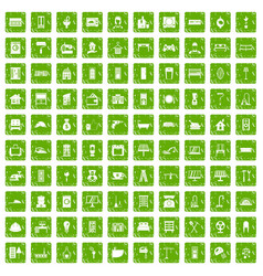 100 comfortable house icons set grunge green vector image