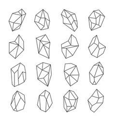 crystal shapes outline set vector image vector image