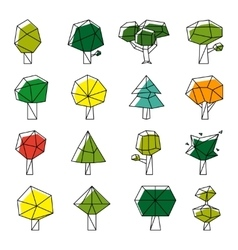 Line art polygonal trees icons vector image vector image
