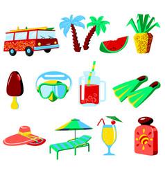 summer vacations cartoon icons set vector image vector image