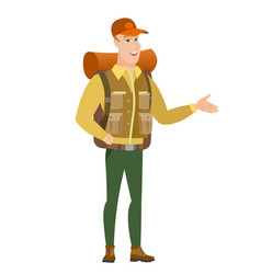traveler with arm out in a welcoming gesture vector image vector image