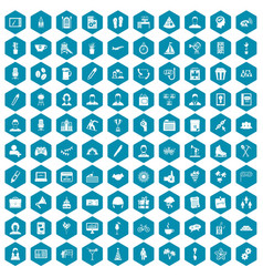 100 team building icons sapphirine violet vector image