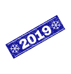 2019 grunge rectangle stamp seal with snowflakes vector image