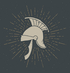 ancient roman helmet vintage label hand drawn vector image