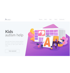 Autism center landing page concept vector