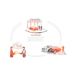 auto rent showroom salesman and customer make vector image