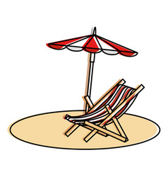 beach umbrella with chair vector image