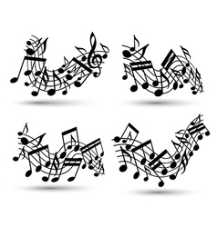 Black jolly wavy staves with musical notes on vector