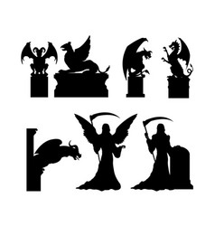 Black silhouettes of gothic statues vector
