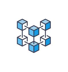 Blockchain technology creative blue icon or vector