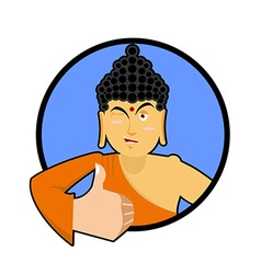 Buddha shows well Thumbs up and winks Indian god vector image