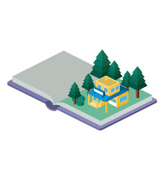 building and trees isometric scene on book vector image